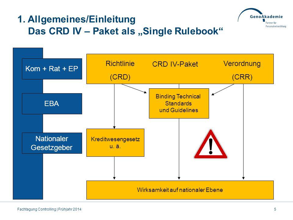 Agenda Fachtagung Controlling | Frühjahr 201416 2 Umsetzung der CRR Eigenmittel und Grandfathering / Exkurs: Großkredite in der Risikotragfähigkeit / Behandlung von Holdinggesellschaften