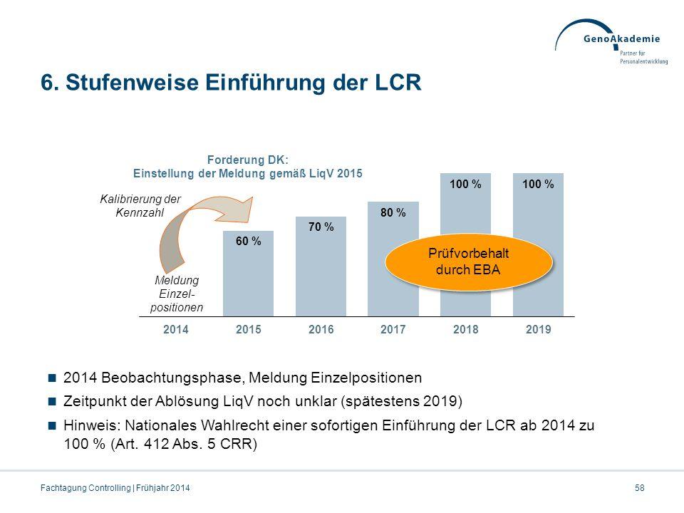 6. Stufenweise Einführung der LCR Forderung DK: Einstellung der Meldung gemäß LiqV 2015 Prüfvorbehalt durch EBA Kalibrierung der Kennzahl Meldung Einz
