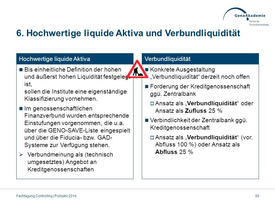 6. Hochwertige liquide Aktiva und Verbundliquidität Fachtagung Controlling | Frühjahr 201459 Hochwertige liquide Aktiva Bis einheitliche Definition de