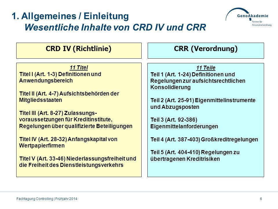 6Fachtagung Controlling | Frühjahr 2014 CRD IV (Richtlinie)CRR (Verordnung) 11 Titel Titel I (Art. 1-3) Definitionen und Anwendungsbereich Titel II (A