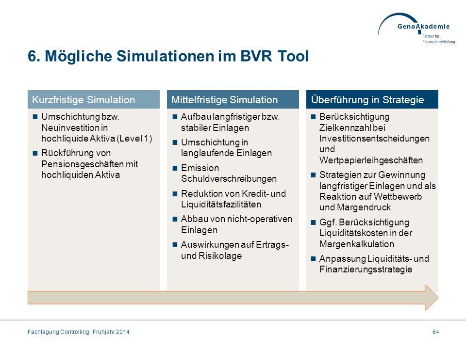 6. Mögliche Simulationen im BVR Tool Fachtagung Controlling | Frühjahr 201464 Umschichtung bzw. Neuinvestition in hochliquide Aktiva (Level 1) Rückfüh