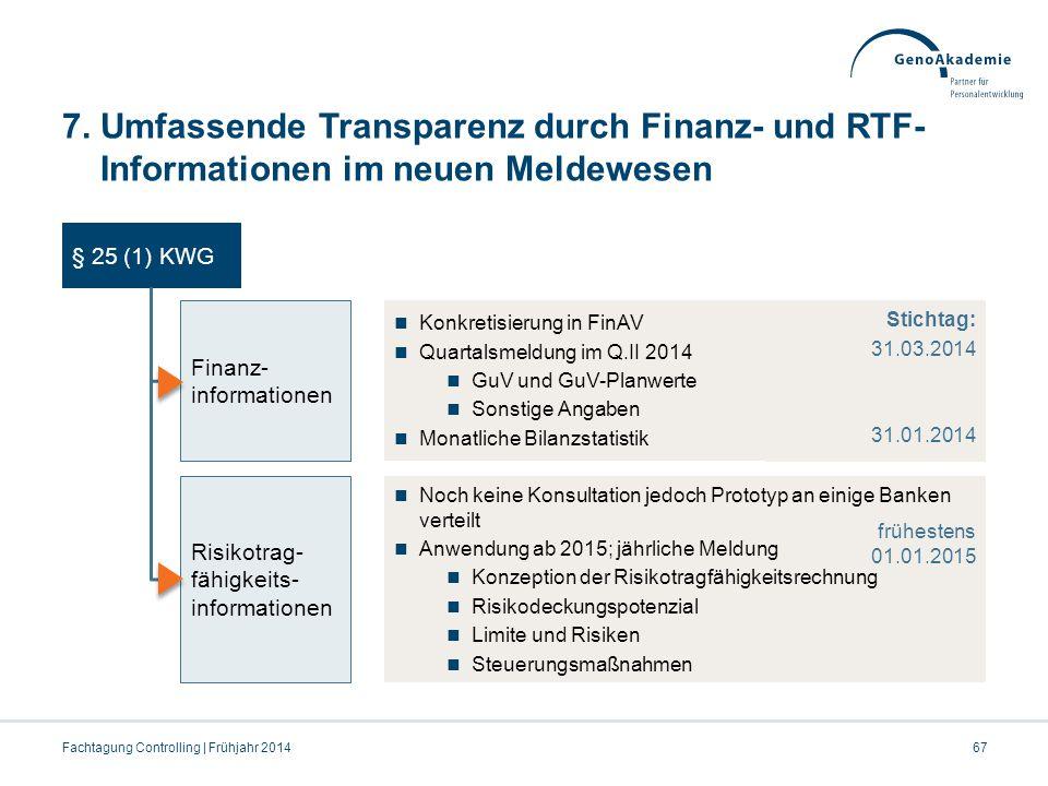 7. Umfassende Transparenz durch Finanz- und RTF- Informationen im neuen Meldewesen Fachtagung Controlling | Frühjahr 201467 § 25 (1) KWG Finanz- infor