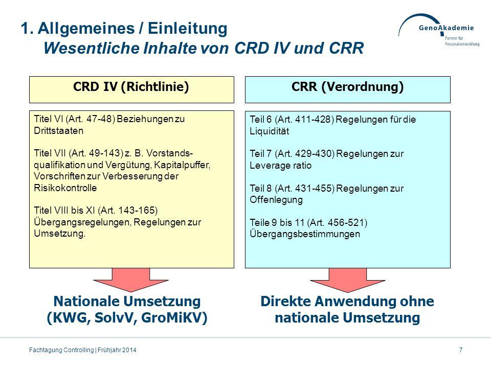7Fachtagung Controlling | Frühjahr 2014 CRD IV (Richtlinie)CRR (Verordnung) Titel VI (Art. 47-48) Beziehungen zu Drittstaaten Titel VII (Art. 49-143)