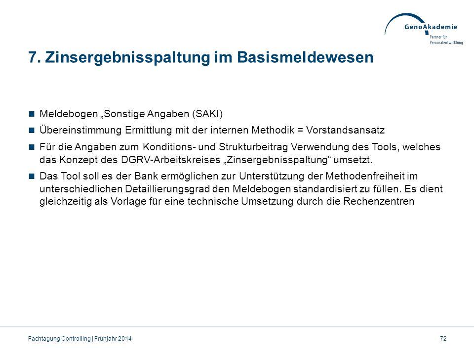 """7. Zinsergebnisspaltung im Basismeldewesen Meldebogen """"Sonstige Angaben (SAKI) Übereinstimmung Ermittlung mit der internen Methodik = Vorstandsansatz"""