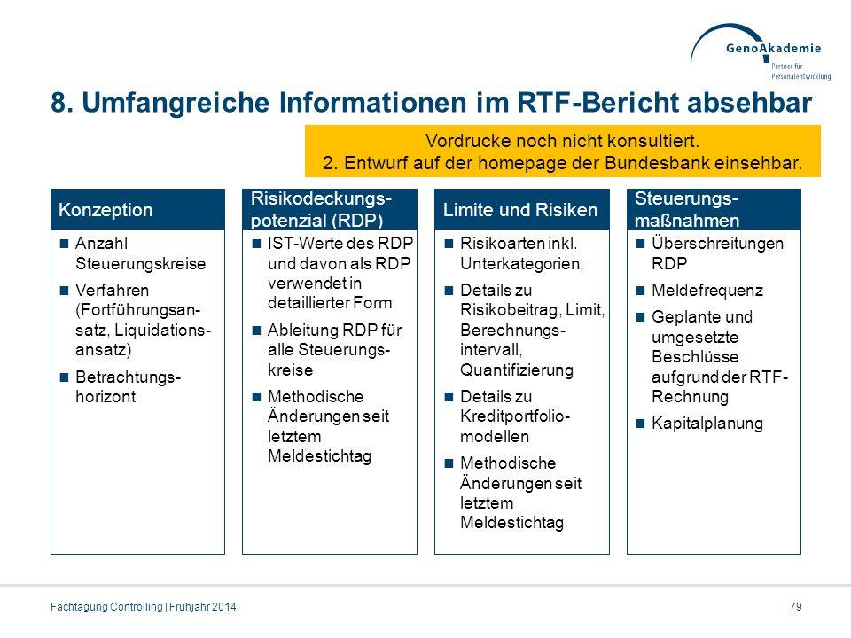 8. Umfangreiche Informationen im RTF-Bericht absehbar Fachtagung Controlling | Frühjahr 201479 Konzeption Anzahl Steuerungskreise Verfahren (Fortführu