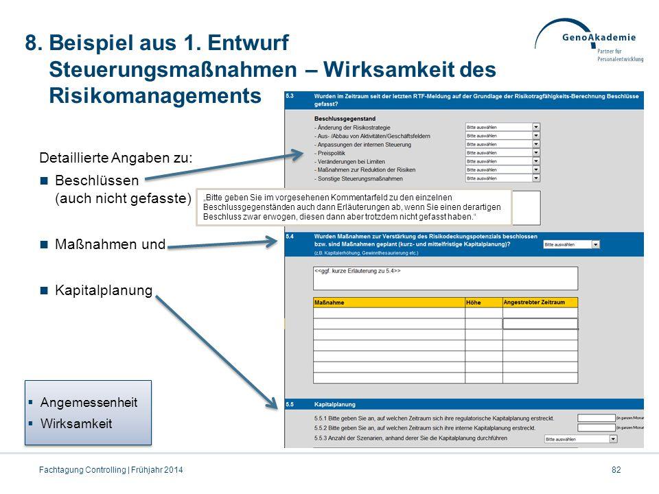8. Beispiel aus 1. Entwurf Steuerungsmaßnahmen – Wirksamkeit des Risikomanagements Detaillierte Angaben zu: Beschlüssen (auch nicht gefasste) Maßnahme