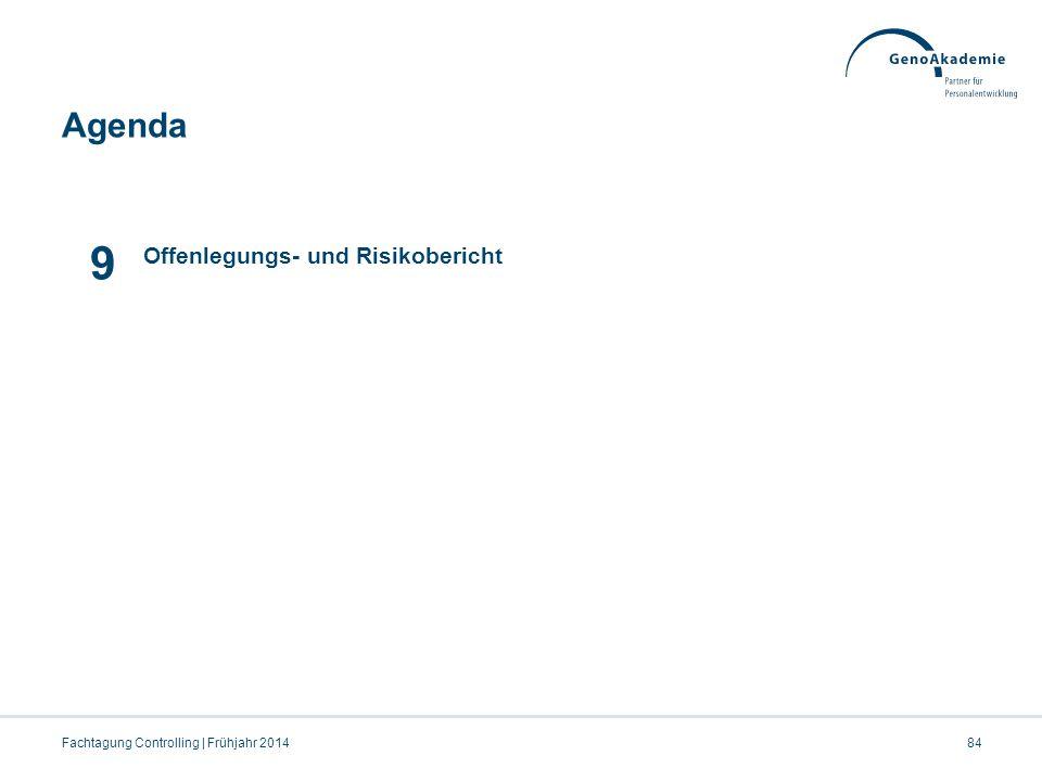 Agenda Fachtagung Controlling | Frühjahr 201484 9 Offenlegungs- und Risikobericht