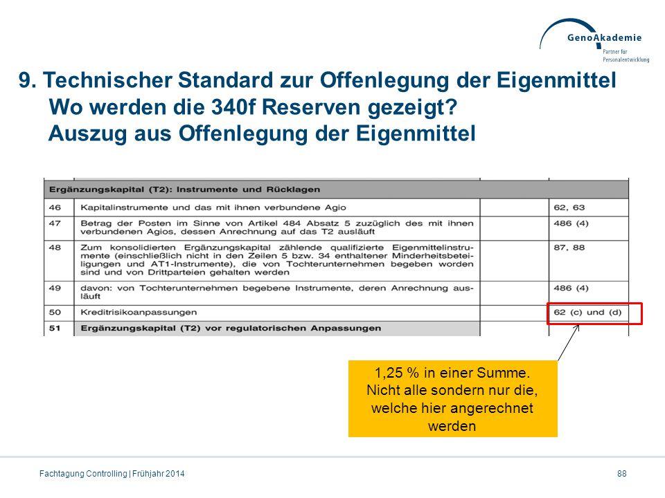 9. Technischer Standard zur Offenlegung der Eigenmittel Wo werden die 340f Reserven gezeigt? Auszug aus Offenlegung der Eigenmittel 88Fachtagung Contr