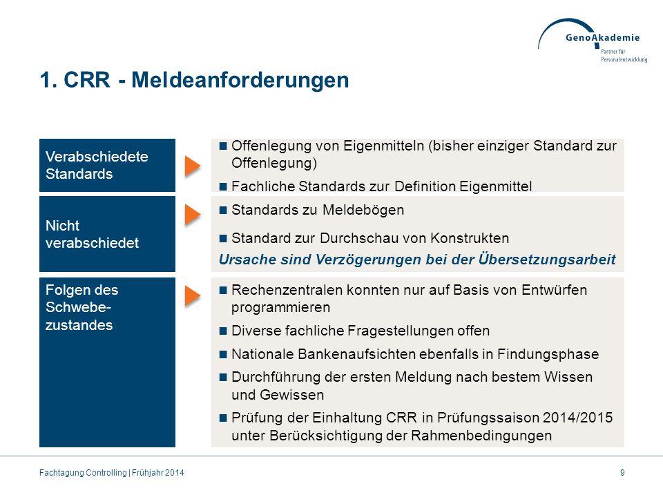 1. CRR - Meldeanforderungen Fachtagung Controlling | Frühjahr 20149 Verabschiedete Standards Offenlegung von Eigenmitteln (bisher einziger Standard zu