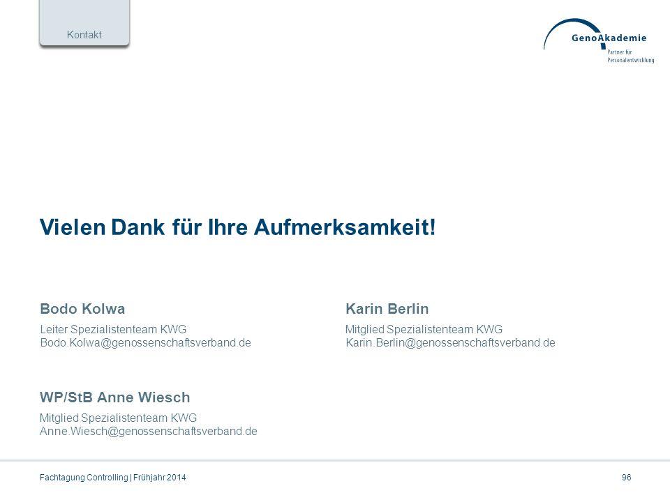 Kontakt Bodo Kolwa Leiter Spezialistenteam KWG Bodo.Kolwa@genossenschaftsverband.de Karin Berlin Mitglied Spezialistenteam KWG Karin.Berlin@genossenschaftsverband.de Vielen Dank für Ihre Aufmerksamkeit.