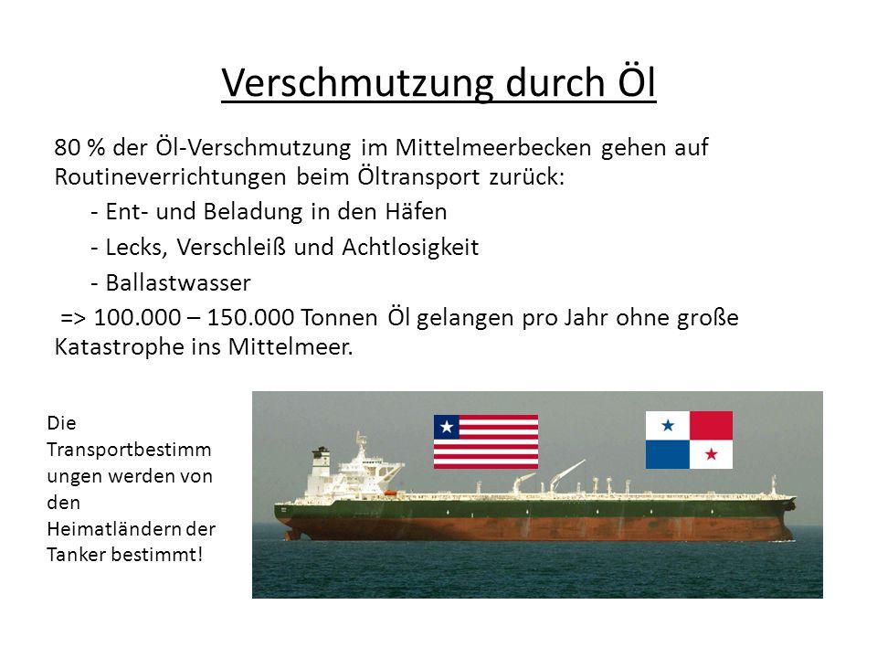 Verschmutzung durch Öl 80 % der Öl-Verschmutzung im Mittelmeerbecken gehen auf Routineverrichtungen beim Öltransport zurück: - Ent- und Beladung in den Häfen - Lecks, Verschleiß und Achtlosigkeit - Ballastwasser => 100.000 – 150.000 Tonnen Öl gelangen pro Jahr ohne große Katastrophe ins Mittelmeer.