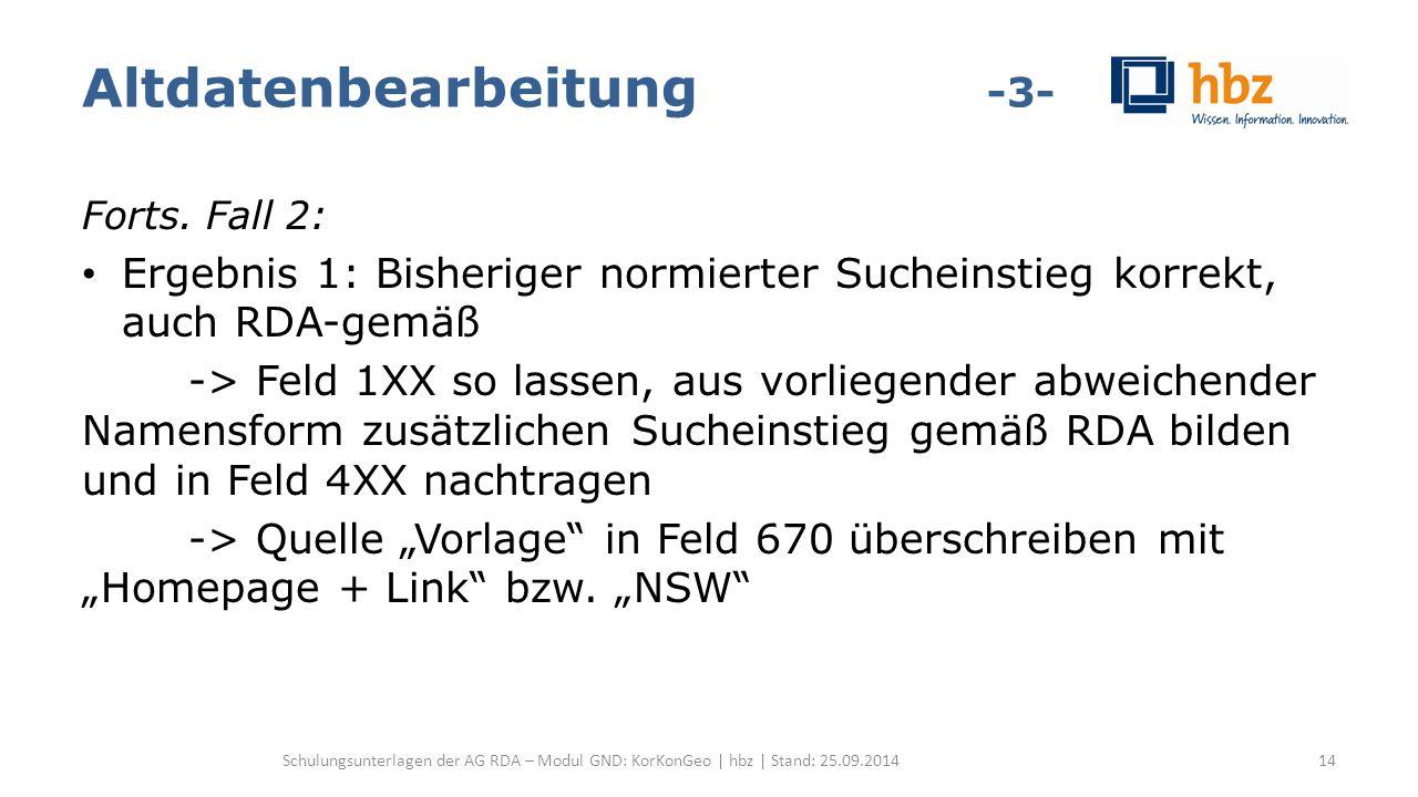 Altdatenbearbeitung -3- Forts. Fall 2: Ergebnis 1: Bisheriger normierter Sucheinstieg korrekt, auch RDA-gemäß -> Feld 1XX so lassen, aus vorliegender