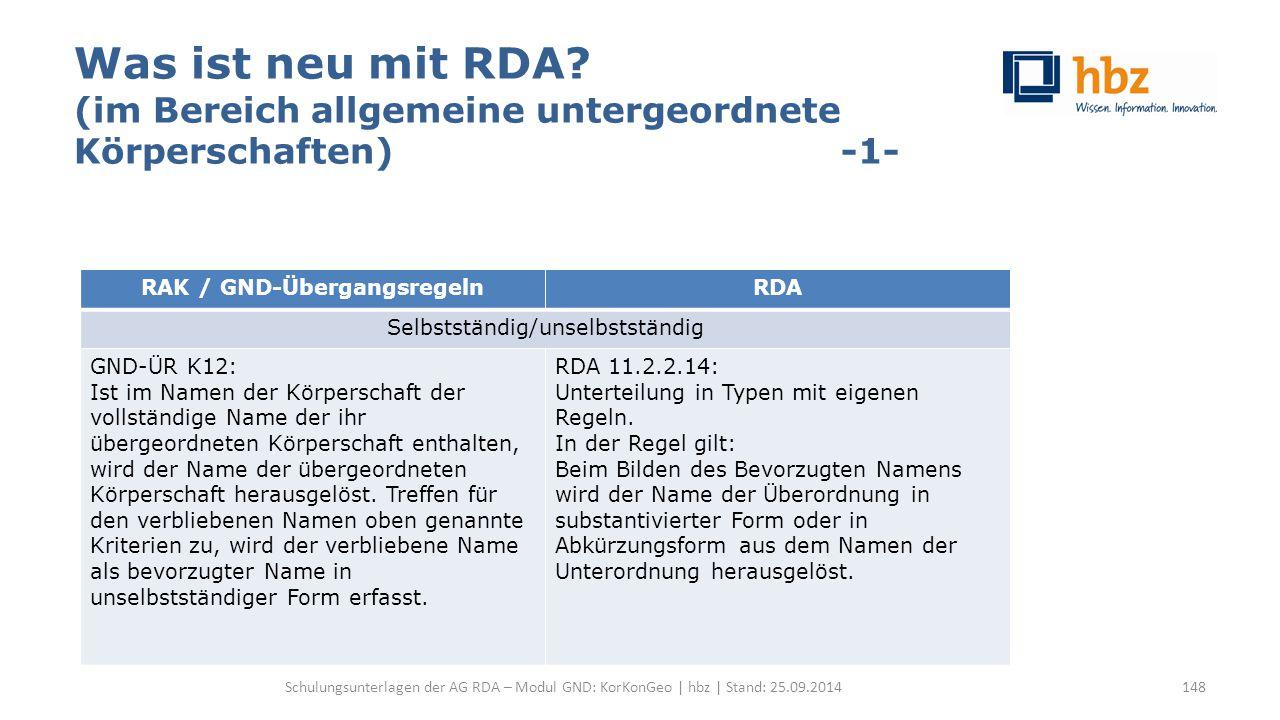 Was ist neu mit RDA? (im Bereich allgemeine untergeordnete Körperschaften) -1- Schulungsunterlagen der AG RDA – Modul GND: KorKonGeo | hbz | Stand: 25