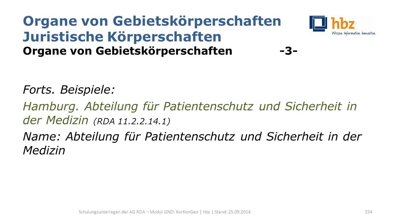 Organe von Gebietskörperschaften Juristische Körperschaften Organe von Gebietskörperschaften -3- Forts. Beispiele: Hamburg. Abteilung für Patientensch