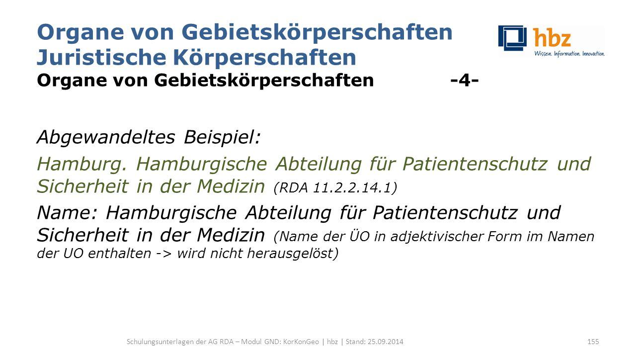 Organe von Gebietskörperschaften Juristische Körperschaften Organe von Gebietskörperschaften -4- Abgewandeltes Beispiel: Hamburg.