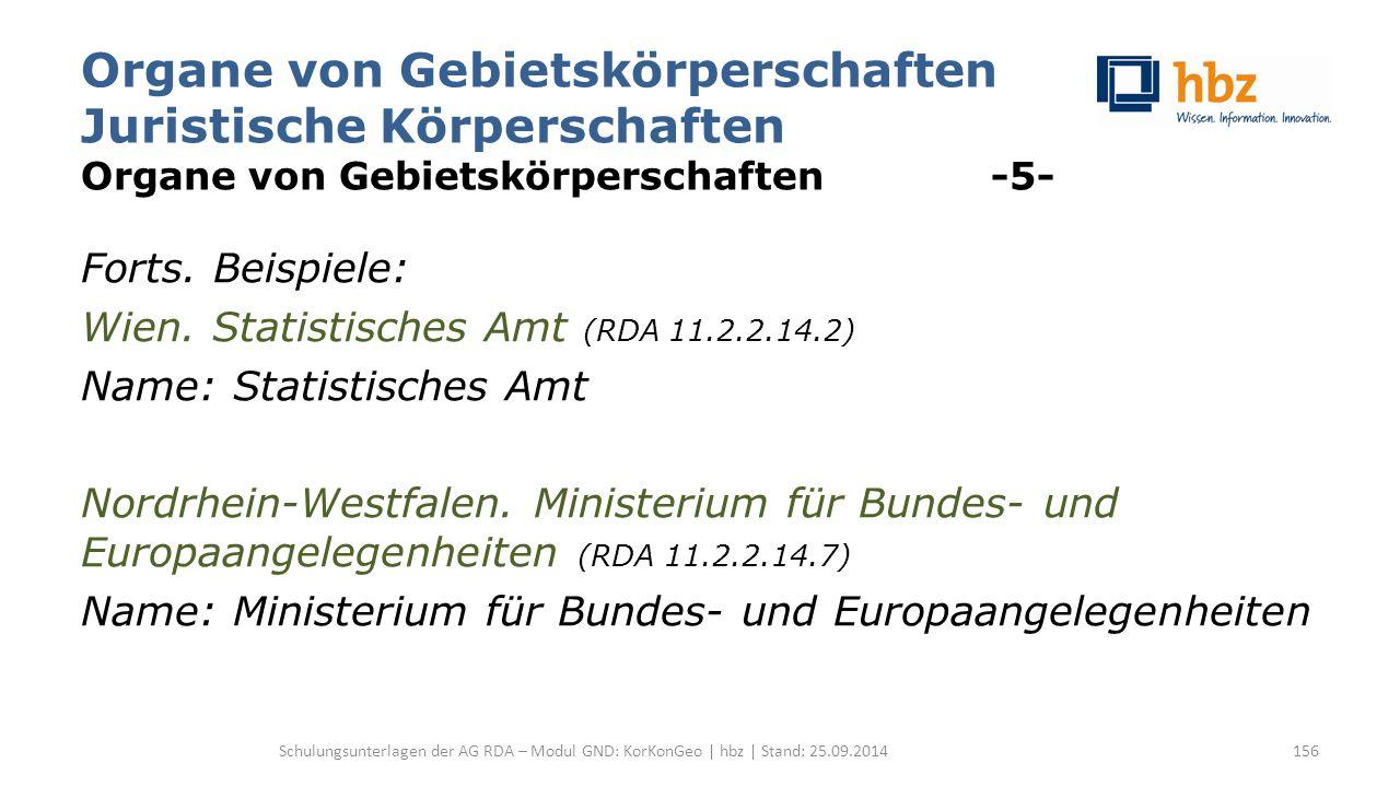 Organe von Gebietskörperschaften Juristische Körperschaften Organe von Gebietskörperschaften -5- Forts. Beispiele: Wien. Statistisches Amt (RDA 11.2.2
