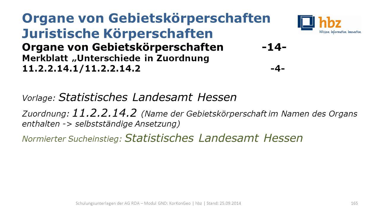 """Organe von Gebietskörperschaften Juristische Körperschaften Organe von Gebietskörperschaften -14- Merkblatt """"Unterschiede in Zuordnung 11.2.2.14.1/11."""