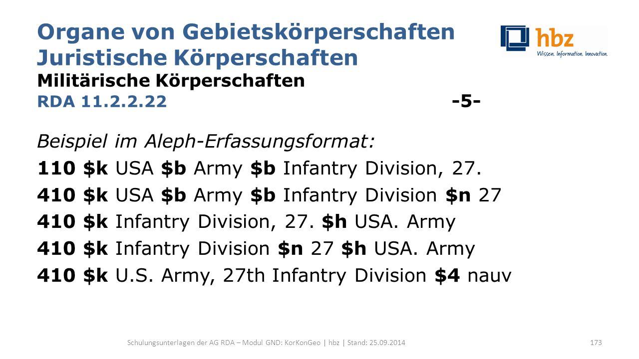 Organe von Gebietskörperschaften Juristische Körperschaften Militärische Körperschaften RDA 11.2.2.22 -5- Beispiel im Aleph-Erfassungsformat: 110 $k USA $b Army $b Infantry Division, 27.