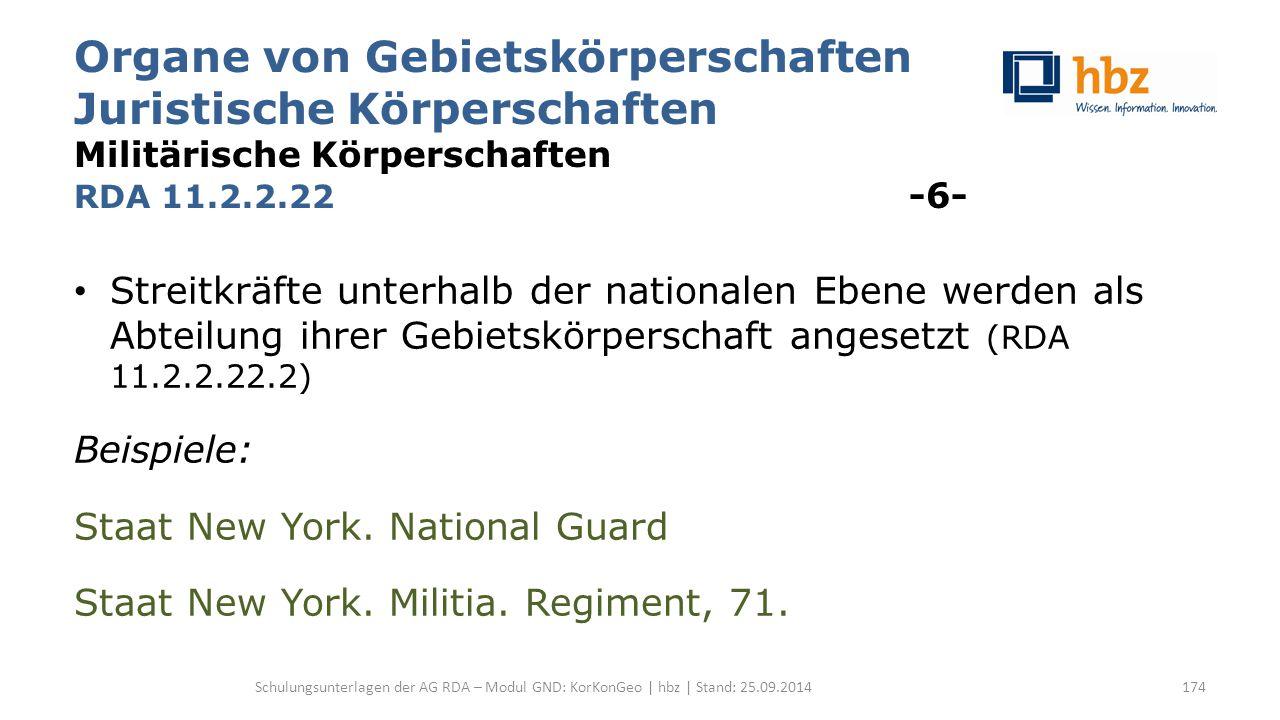 Organe von Gebietskörperschaften Juristische Körperschaften Militärische Körperschaften RDA 11.2.2.22 -6- Streitkräfte unterhalb der nationalen Ebene werden als Abteilung ihrer Gebietskörperschaft angesetzt (RDA 11.2.2.22.2) Beispiele: Staat New York.