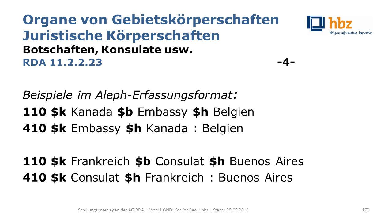 Organe von Gebietskörperschaften Juristische Körperschaften Botschaften, Konsulate usw. RDA 11.2.2.23 -4- Beispiele im Aleph-Erfassungsformat : 110 $k