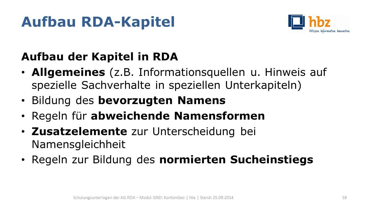 Aufbau RDA-Kapitel Aufbau der Kapitel in RDA Allgemeines (z.B. Informationsquellen u. Hinweis auf spezielle Sachverhalte in speziellen Unterkapiteln)