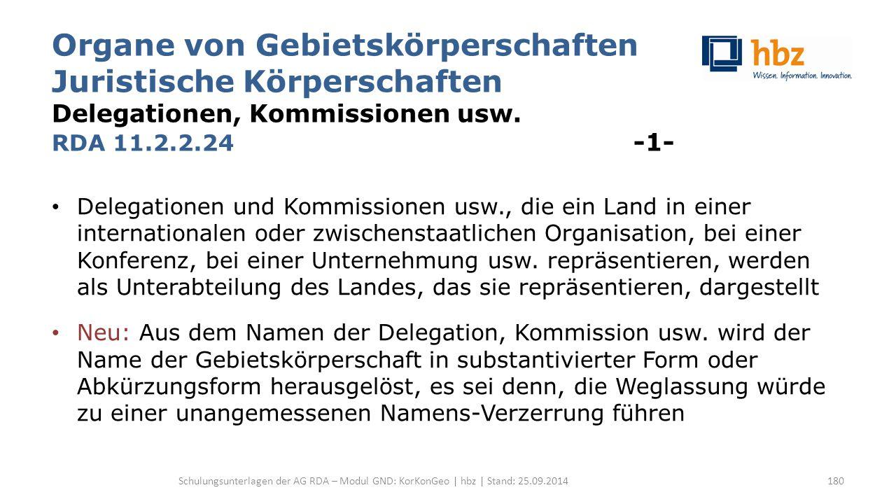 Organe von Gebietskörperschaften Juristische Körperschaften Delegationen, Kommissionen usw. RDA 11.2.2.24 -1- Delegationen und Kommissionen usw., die