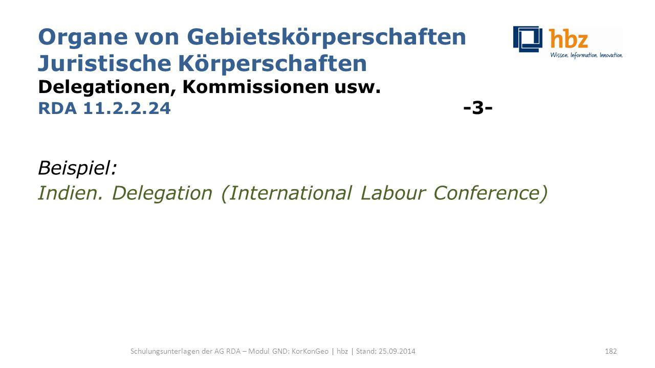 Organe von Gebietskörperschaften Juristische Körperschaften Delegationen, Kommissionen usw. RDA 11.2.2.24 -3- Beispiel: Indien. Delegation (Internatio