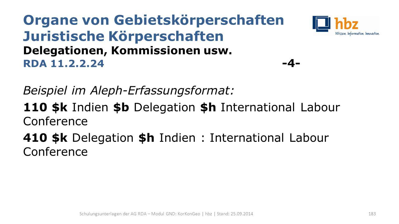 Organe von Gebietskörperschaften Juristische Körperschaften Delegationen, Kommissionen usw. RDA 11.2.2.24 -4- Beispiel im Aleph-Erfassungsformat: 110