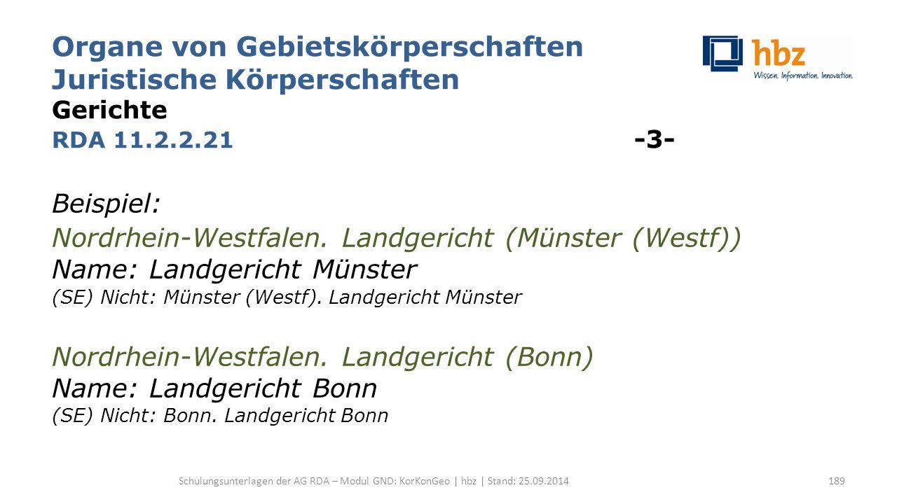Organe von Gebietskörperschaften Juristische Körperschaften Gerichte RDA 11.2.2.21 -3- Beispiel: Nordrhein-Westfalen. Landgericht (Münster (Westf)) Na