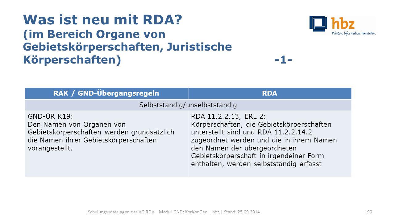 Was ist neu mit RDA? (im Bereich Organe von Gebietskörperschaften, Juristische Körperschaften) -1- Schulungsunterlagen der AG RDA – Modul GND: KorKonG
