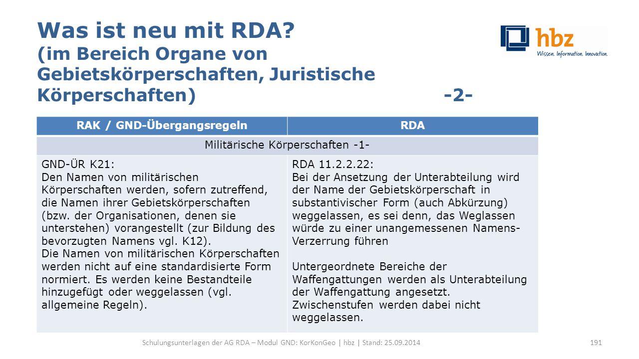 Was ist neu mit RDA? (im Bereich Organe von Gebietskörperschaften, Juristische Körperschaften) -2- Schulungsunterlagen der AG RDA – Modul GND: KorKonG