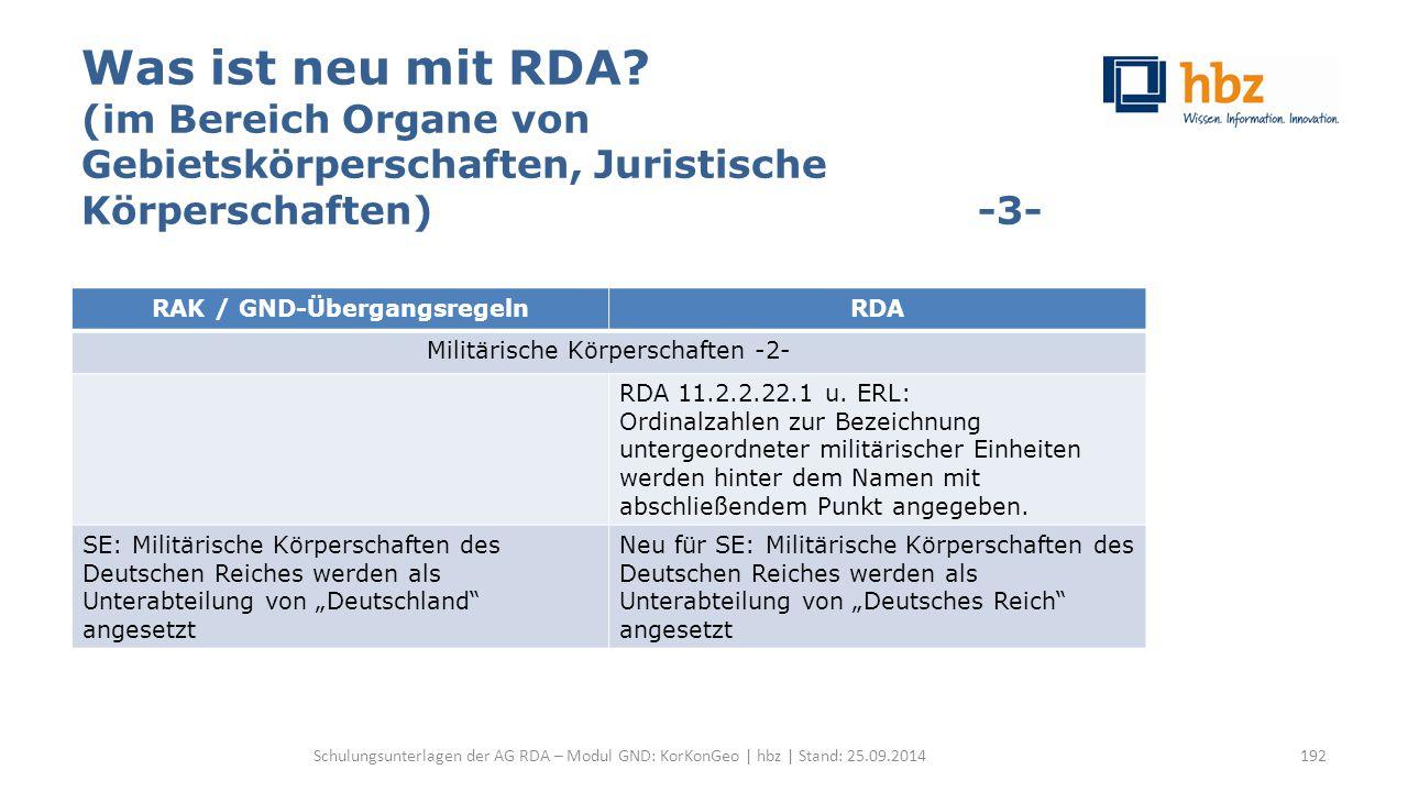 Was ist neu mit RDA? (im Bereich Organe von Gebietskörperschaften, Juristische Körperschaften) -3- Schulungsunterlagen der AG RDA – Modul GND: KorKonG