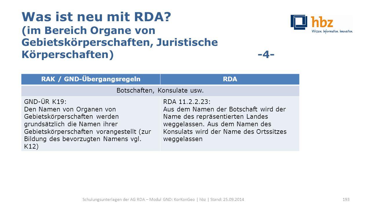 Was ist neu mit RDA? (im Bereich Organe von Gebietskörperschaften, Juristische Körperschaften) -4- Schulungsunterlagen der AG RDA – Modul GND: KorKonG
