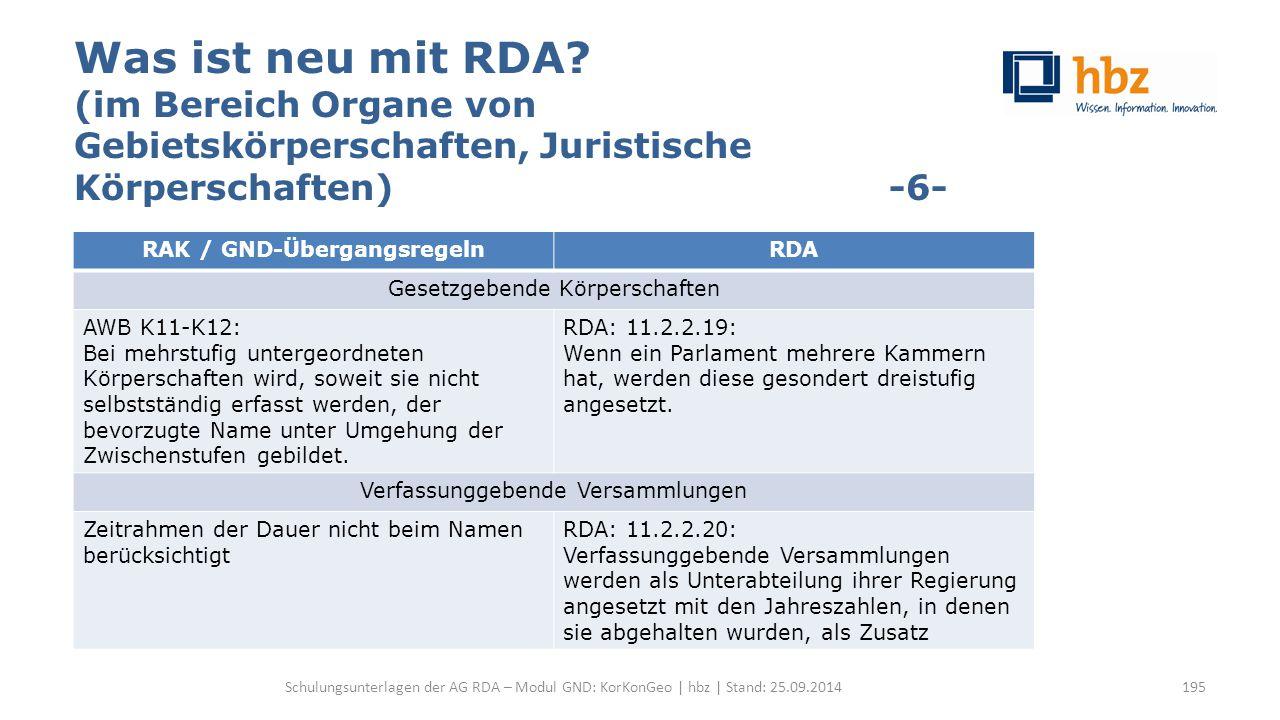 Was ist neu mit RDA? (im Bereich Organe von Gebietskörperschaften, Juristische Körperschaften) -6- Schulungsunterlagen der AG RDA – Modul GND: KorKonG