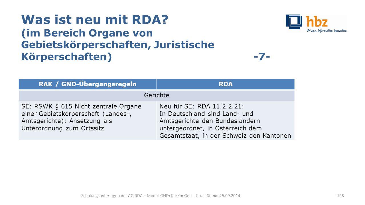 Was ist neu mit RDA? (im Bereich Organe von Gebietskörperschaften, Juristische Körperschaften) -7- Schulungsunterlagen der AG RDA – Modul GND: KorKonG