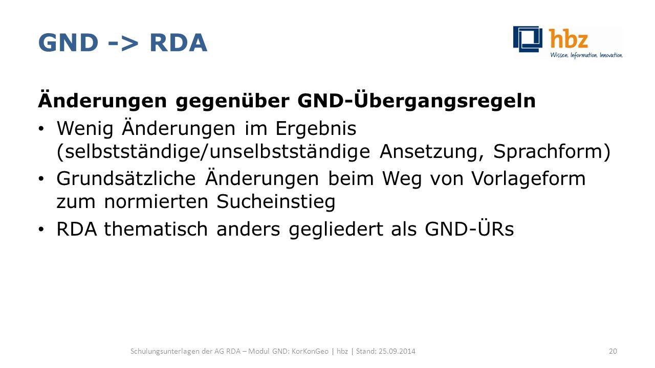 GND -> RDA Änderungen gegenüber GND-Übergangsregeln Wenig Änderungen im Ergebnis (selbstständige/unselbstständige Ansetzung, Sprachform) Grundsätzlich