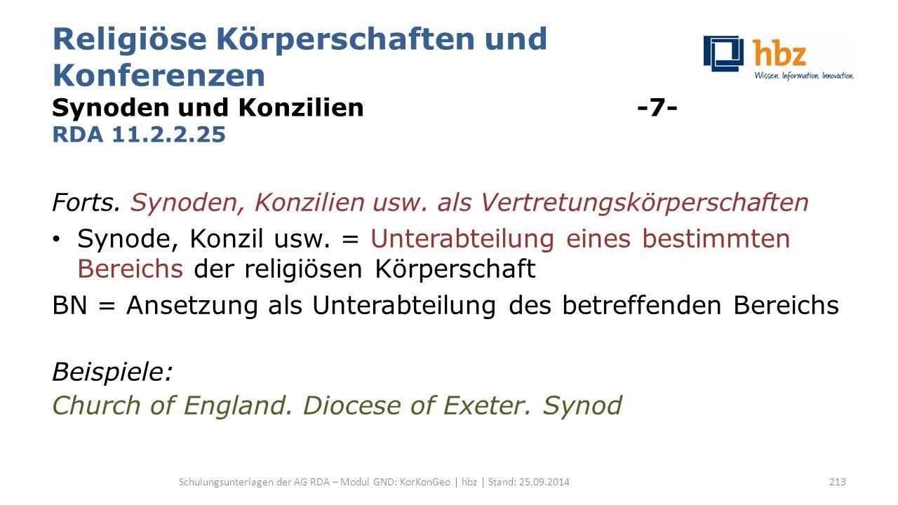 Religiöse Körperschaften und Konferenzen Synoden und Konzilien -7- RDA 11.2.2.25 Forts. Synoden, Konzilien usw. als Vertretungskörperschaften Synode,