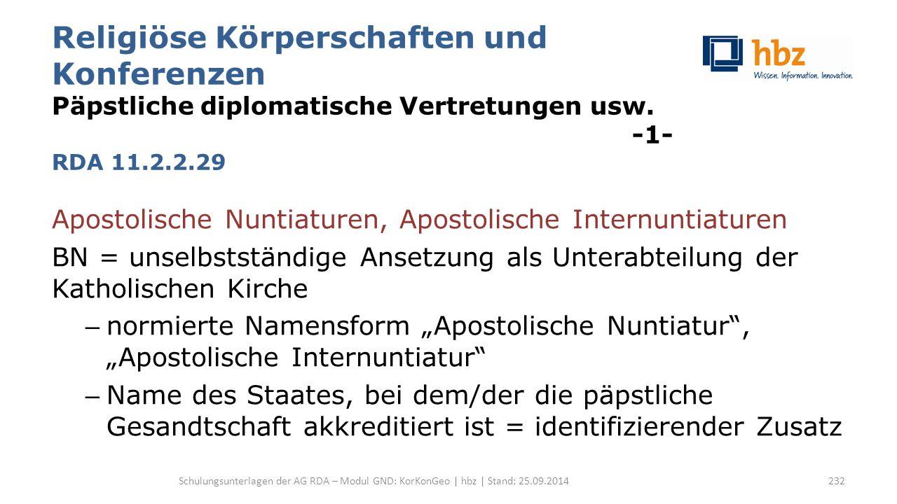 Religiöse Körperschaften und Konferenzen Päpstliche diplomatische Vertretungen usw. -1- RDA 11.2.2.29 Apostolische Nuntiaturen, Apostolische Internunt