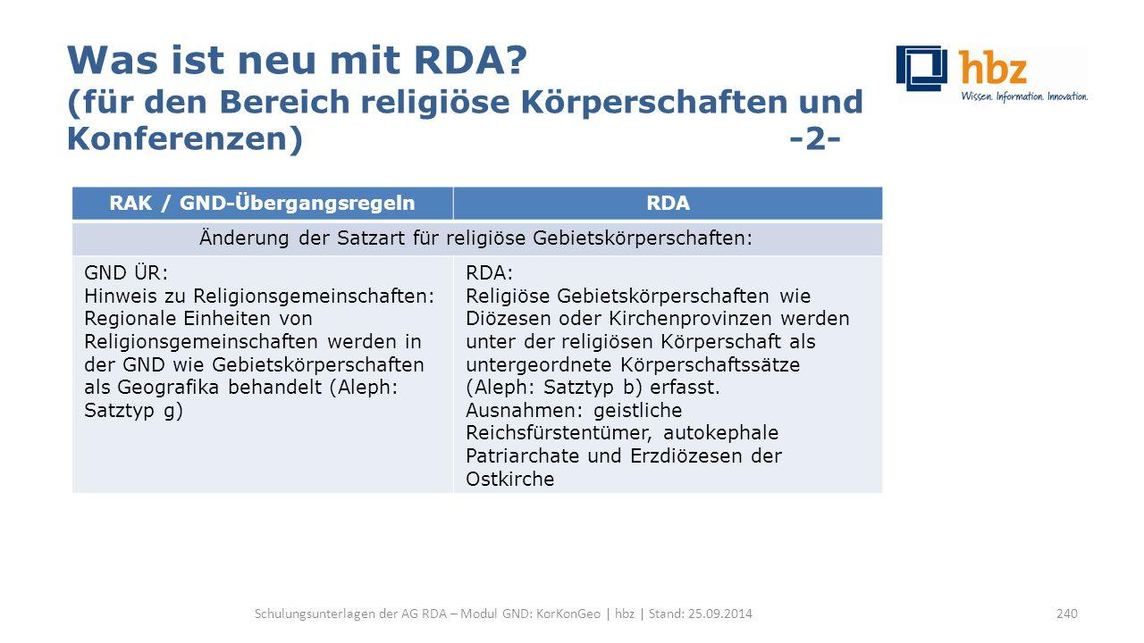 Was ist neu mit RDA? (für den Bereich religiöse Körperschaften und Konferenzen) -2- Schulungsunterlagen der AG RDA – Modul GND: KorKonGeo | hbz | Stan