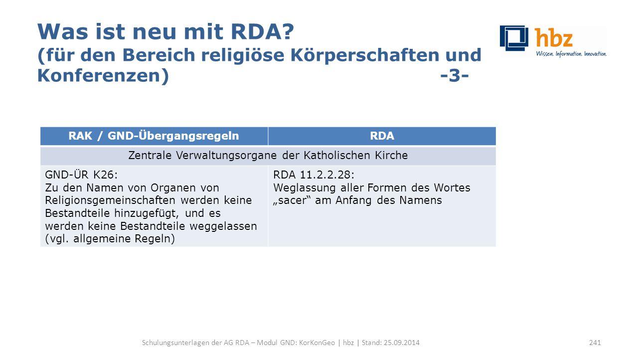 Was ist neu mit RDA? (für den Bereich religiöse Körperschaften und Konferenzen) -3- Schulungsunterlagen der AG RDA – Modul GND: KorKonGeo | hbz | Stan