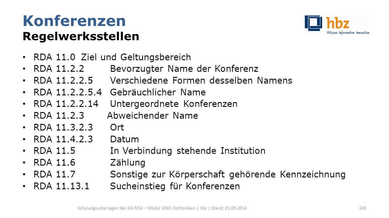 Konferenzen Regelwerksstellen RDA 11.0 Ziel und Geltungsbereich RDA 11.2.2 Bevorzugter Name der Konferenz RDA 11.2.2.5Verschiedene Formen desselben Na