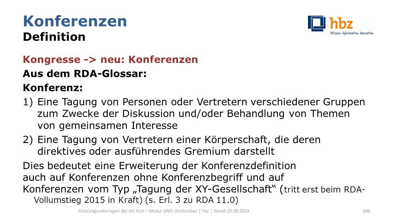 Konferenzen Definition Kongresse -> neu: Konferenzen Aus dem RDA-Glossar: Konferenz: 1)Eine Tagung von Personen oder Vertretern verschiedener Gruppen