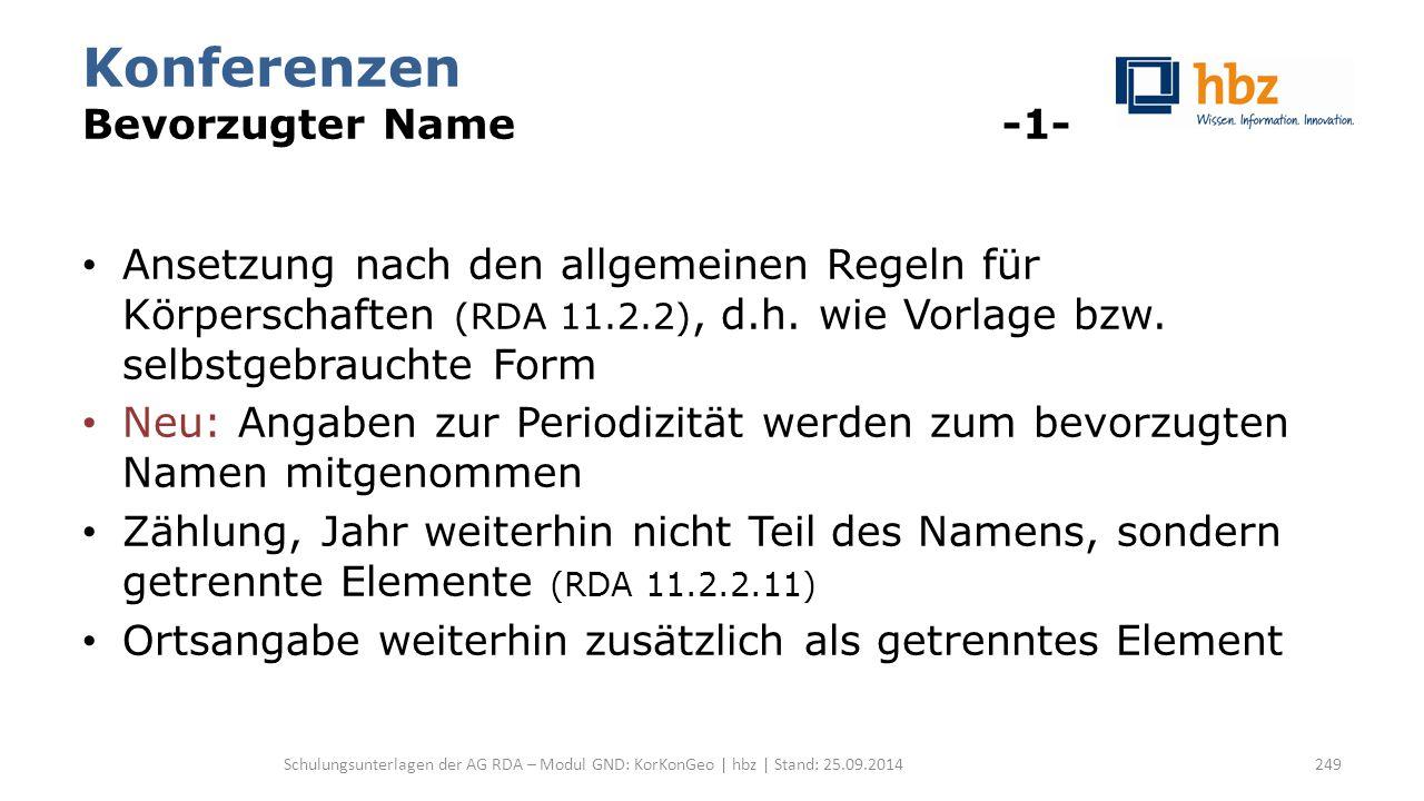 Konferenzen Bevorzugter Name -1- Ansetzung nach den allgemeinen Regeln für Körperschaften (RDA 11.2.2), d.h. wie Vorlage bzw. selbstgebrauchte Form Ne