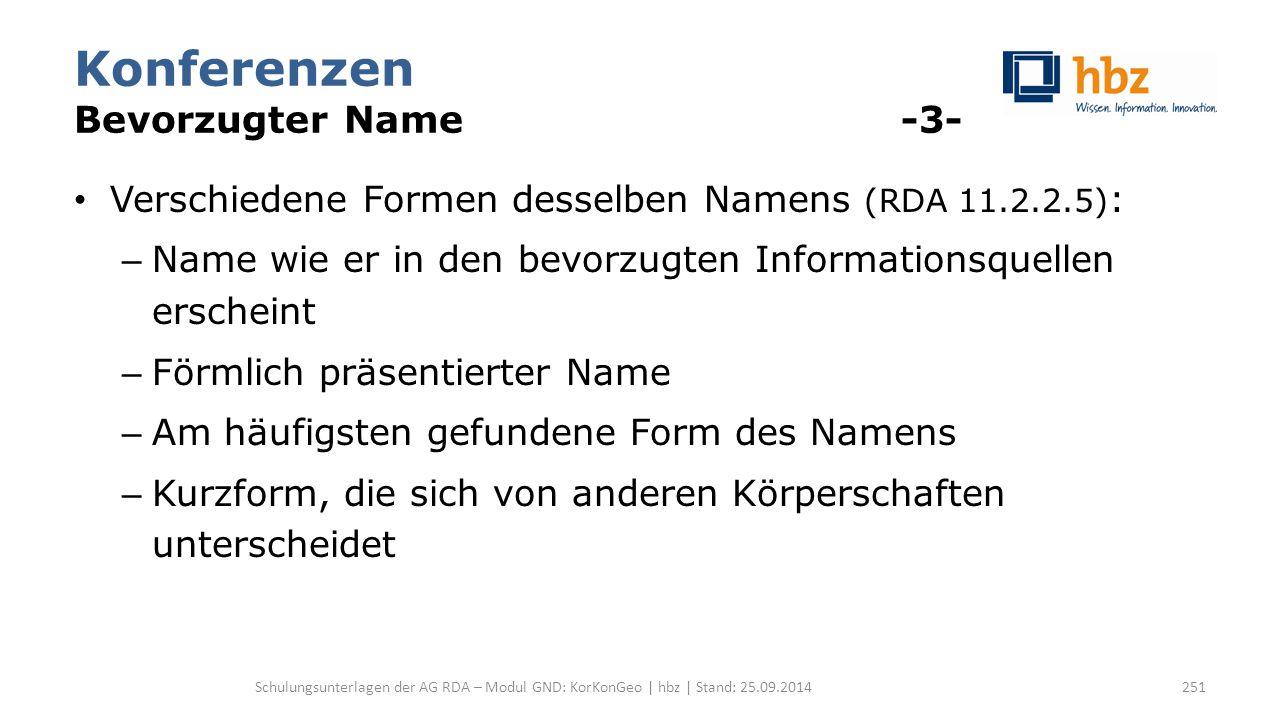 Konferenzen Bevorzugter Name -3- Verschiedene Formen desselben Namens (RDA 11.2.2.5) : – Name wie er in den bevorzugten Informationsquellen erscheint
