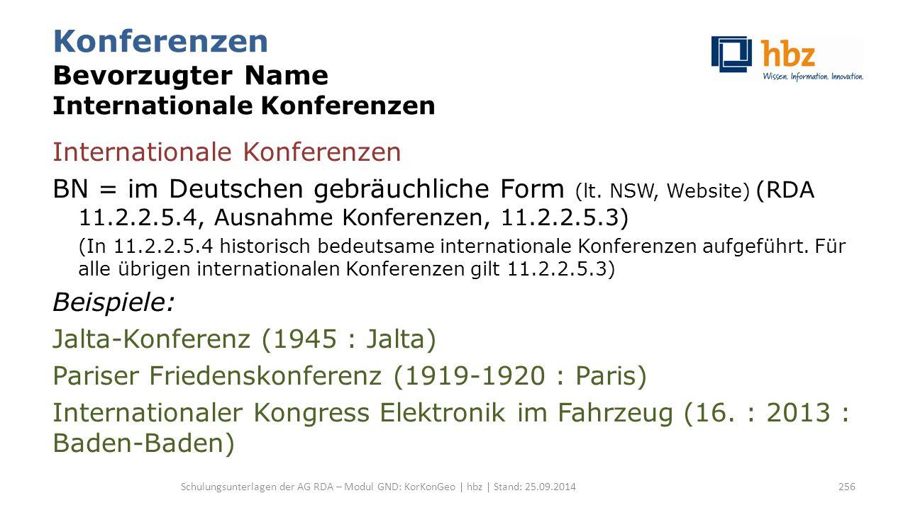 Konferenzen Bevorzugter Name Internationale Konferenzen Internationale Konferenzen BN = im Deutschen gebräuchliche Form (lt. NSW, Website) (RDA 11.2.2