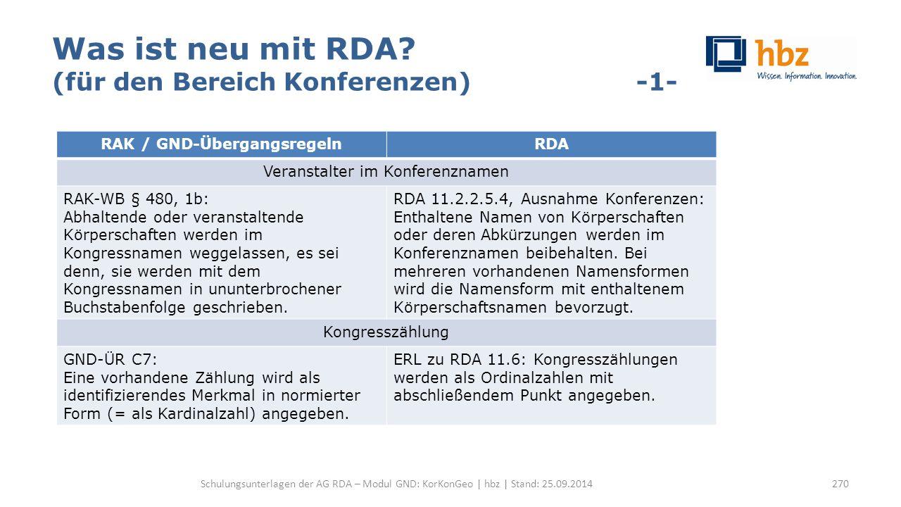 Was ist neu mit RDA? (für den Bereich Konferenzen) -1- Schulungsunterlagen der AG RDA – Modul GND: KorKonGeo | hbz | Stand: 25.09.2014 RAK / GND-Überg