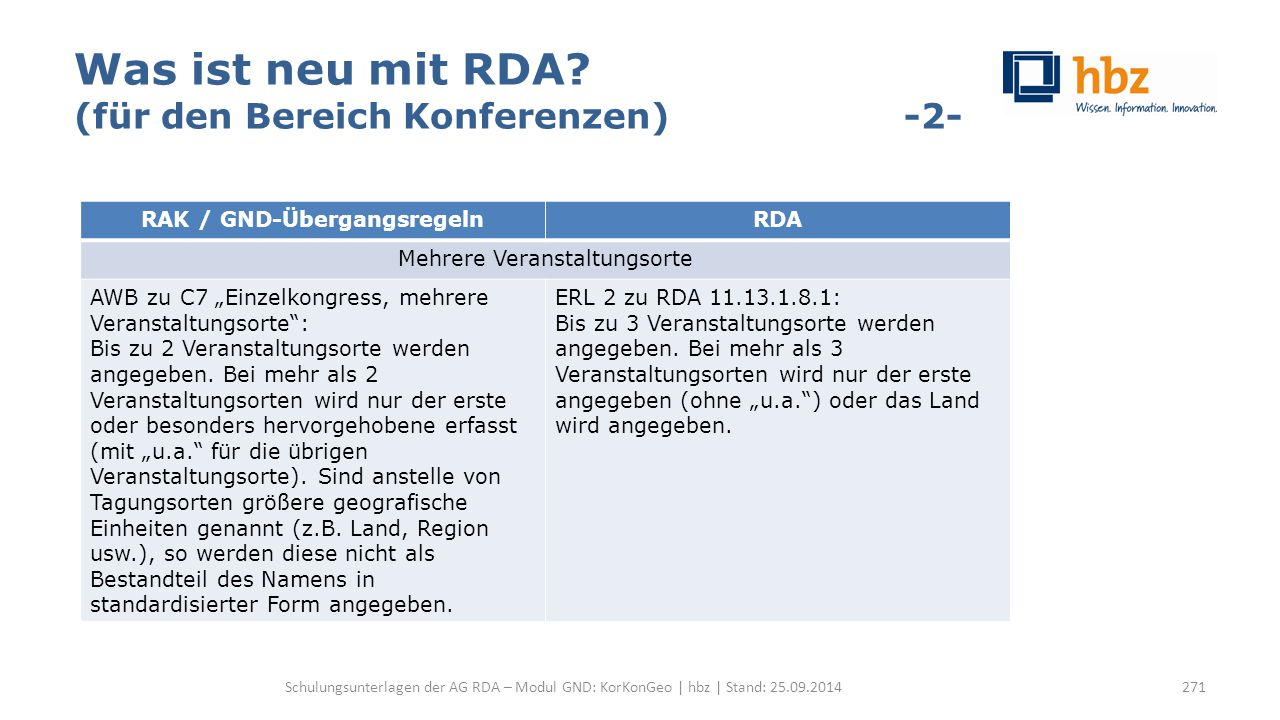 Was ist neu mit RDA? (für den Bereich Konferenzen) -2- Schulungsunterlagen der AG RDA – Modul GND: KorKonGeo | hbz | Stand: 25.09.2014 RAK / GND-Überg