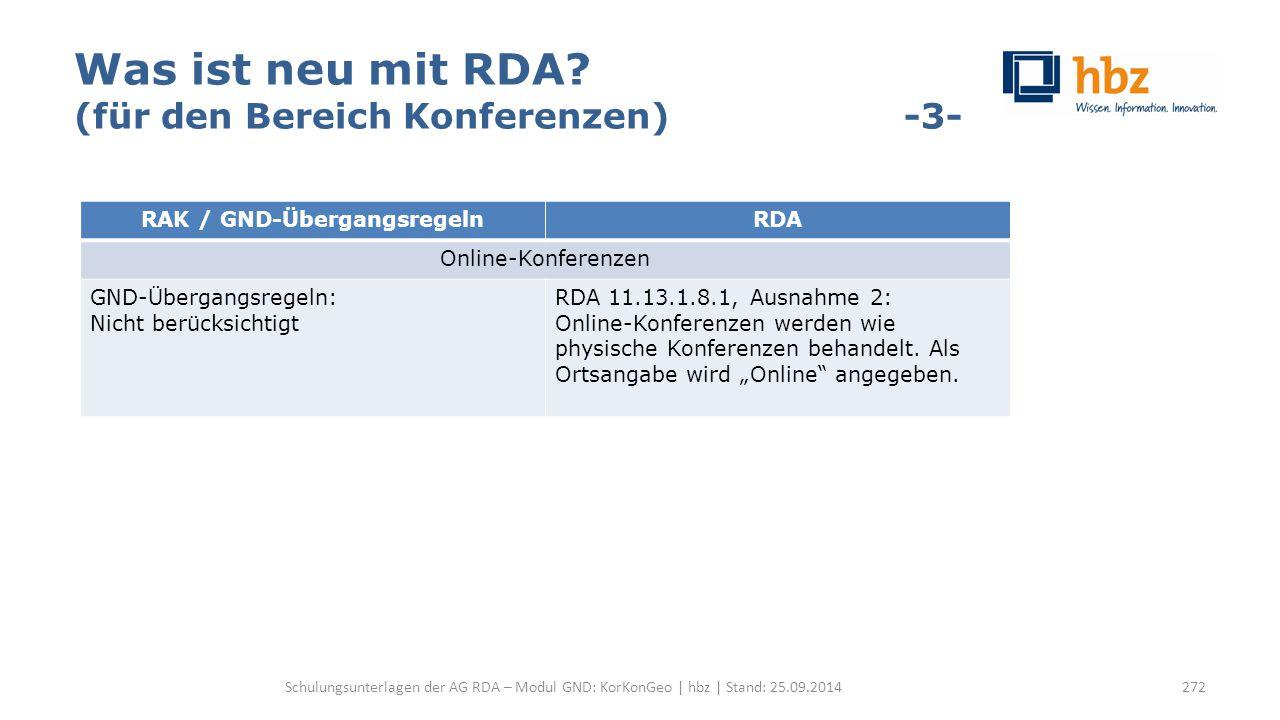 Was ist neu mit RDA? (für den Bereich Konferenzen) -3- Schulungsunterlagen der AG RDA – Modul GND: KorKonGeo | hbz | Stand: 25.09.2014272 RAK / GND-Üb