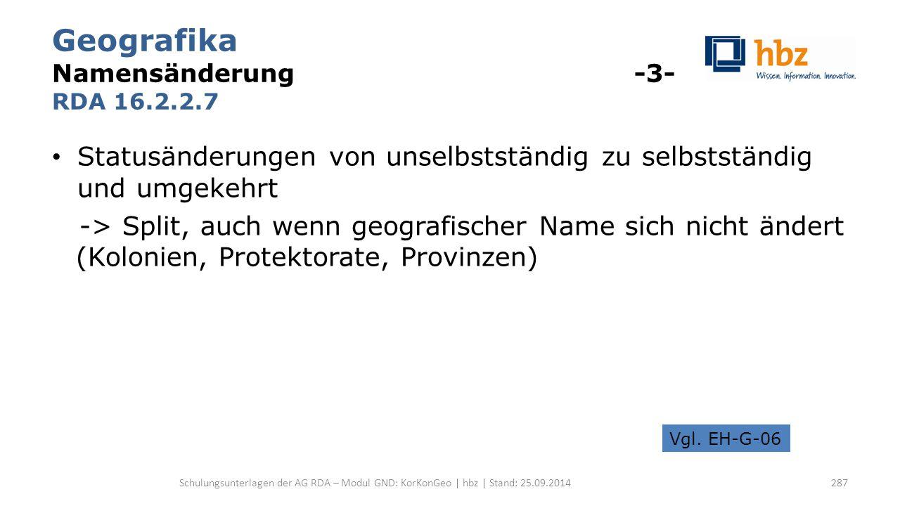 Geografika Namensänderung -3- RDA 16.2.2.7 Statusänderungen von unselbstständig zu selbstständig und umgekehrt -> Split, auch wenn geografischer Name