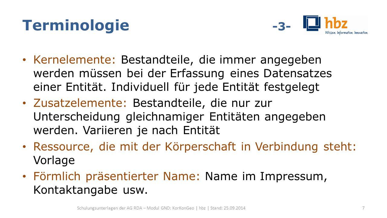 Aufbau RDA-Kapitel Aufbau der Kapitel in RDA Allgemeines (z.B.